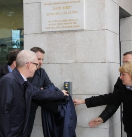 A memorial plaque in honor of Ramo Biber unveiled at Trebević Cable Car station