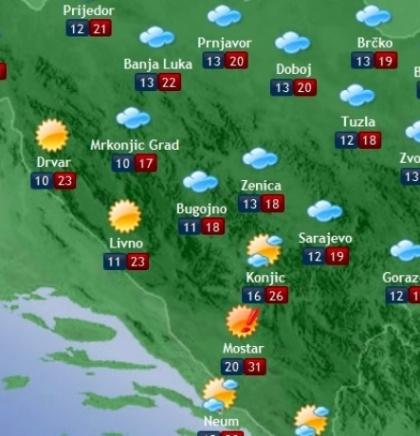 Prognoza vremena za Bosnu i Hercegovinu 27.8.2018