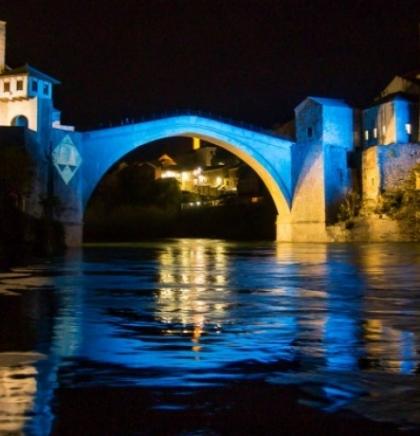 Mostar Old Bridge illuminated in honor of the Hague Tribunal
