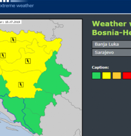 Yellow meteo-alarm issued for the areas of Una-Sana, Tuzla and Sarajevo cantons