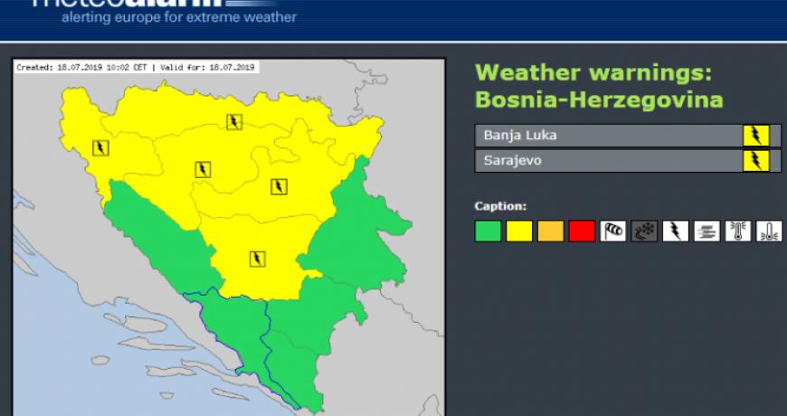Yellow meteo-alarm issued for the areas of Una-Sana, Tuzla and Sarajevo cantons
